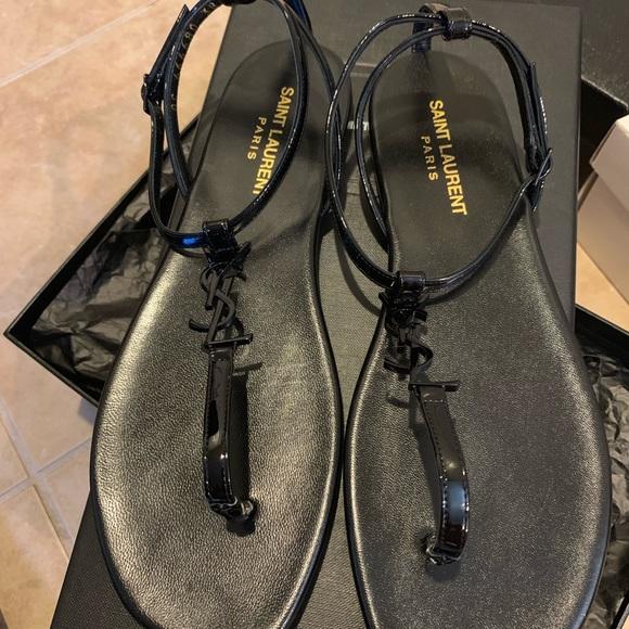 Saint Laurent Shoes - *SOLD* Saint Laurent YSL Monogram Thong Sandals